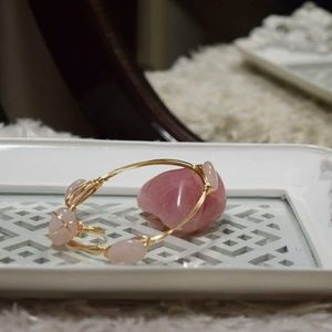 Jewelry - Rose Quartz Gold Wire Bangle & Ring Set
